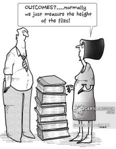 'Outcomes...normally we just measure the height of the files.'
